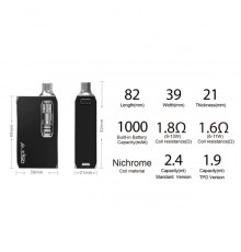 Aspire K1 Stealth 1.9 ml Kit dimensioner