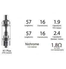 ASPIRE K1 PLUS TANK specifikationer