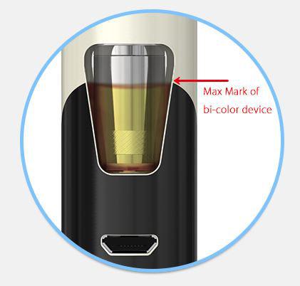 Max påfyldning af e-juice af farvede eGo A10