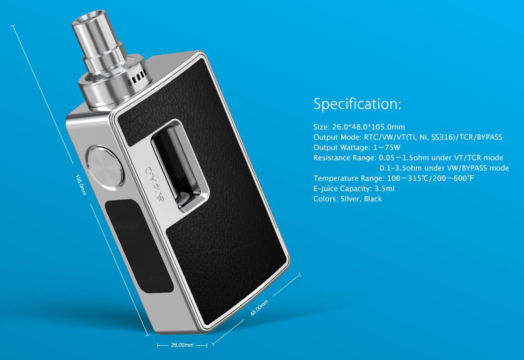 eVic Al0 VT kit dimensioner